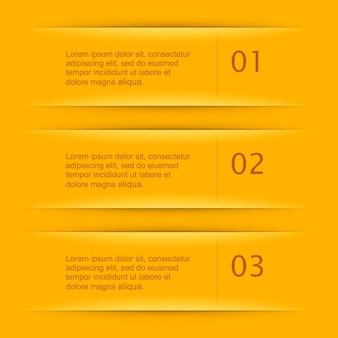 Modelli di navigazione infografica giallo con segno di numero creativo.