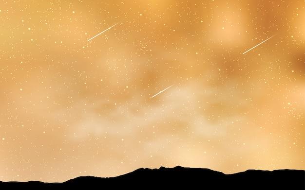 Layout giallo con stelle cosmiche.