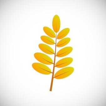Foglia gialla. foglia d'autunno di un albero su uno sfondo bianco. illustrazione vettoriale