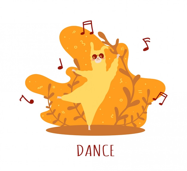 Lama gialla innamorata di note musicali e molti dettagli. alpaca carina.