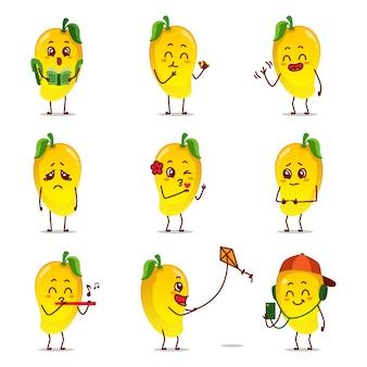 Icona di frutta mango giallo fumetto caricatura emoticon espressione facendo attività quotidiana giocare flauto volare aquilone palestra bilanciere leggere libro college ciclo giro cantare musica felice selfie innamorarsi