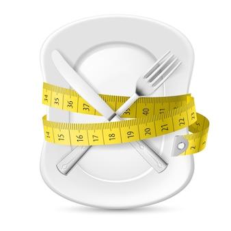 Misura gialla che circonda un piatto
