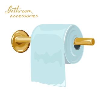 Porta carta igienica in metallo giallo fissato a muro e arrotolato