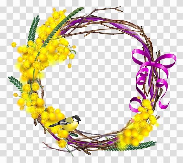 Filiale gialla del fiore della mimosa con la corona con l'arco rosso del nastro.