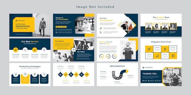 Modello di presentazione di diapositive aziendali minimo giallo