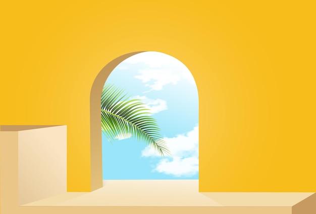 Podio minimalista giallo con sfondo di cielo e foglie
