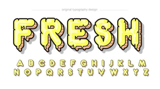 Tipografia gocciolante moderna gialla