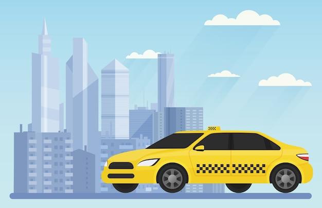 Automobile moderna gialla del taxi sull'illustrazione urbana del paesaggio del fondo della città