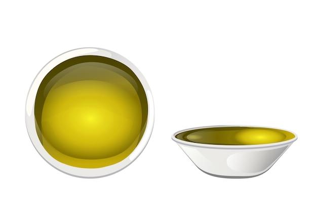 Olio d'oliva giallo in una ciotola in stile cartone animato.