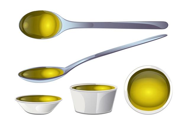 Olio di oliva giallo in ciotola e cucchiai in stile cartone animato.