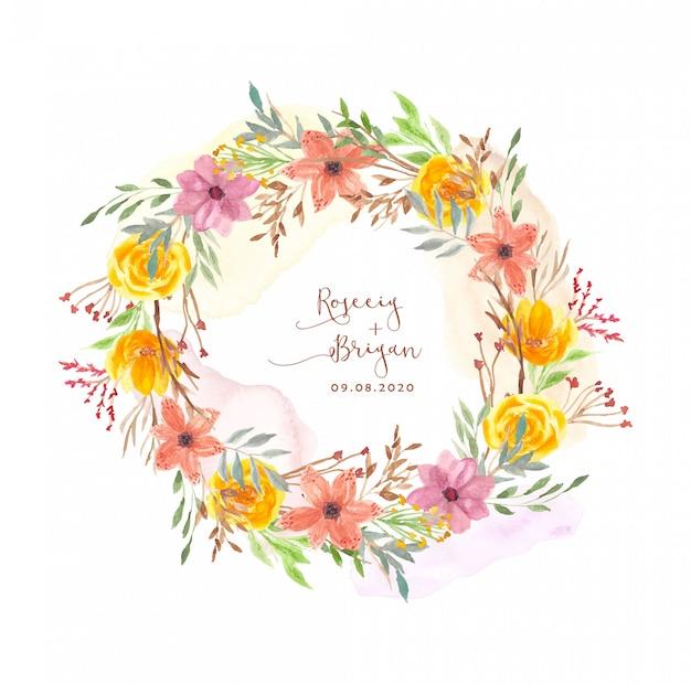 Corona dell'acquerello floreale giallo arancione