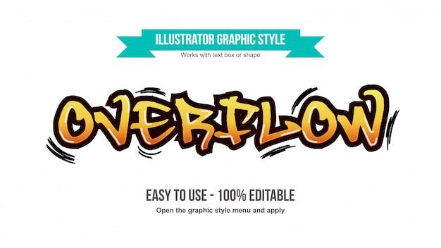 Tipografia editabile dell'etichetta moderna giallo arancione dei graffiti