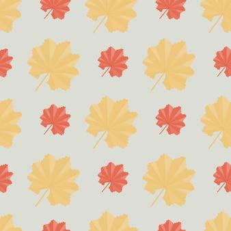 Le foglie tropicali gialle e arancioni decorano il modello di natura stagionale senza soluzione di continuità