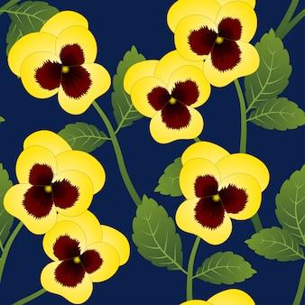 Fiore di pansy giallo su sfondo blu navy