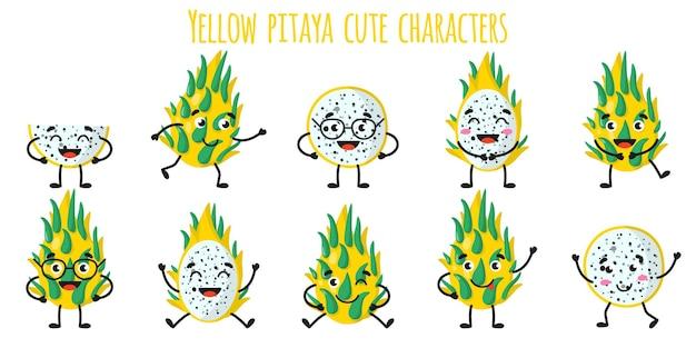 Frutta pitaya gialla simpatici personaggi allegri e divertenti con diverse pose ed emozioni