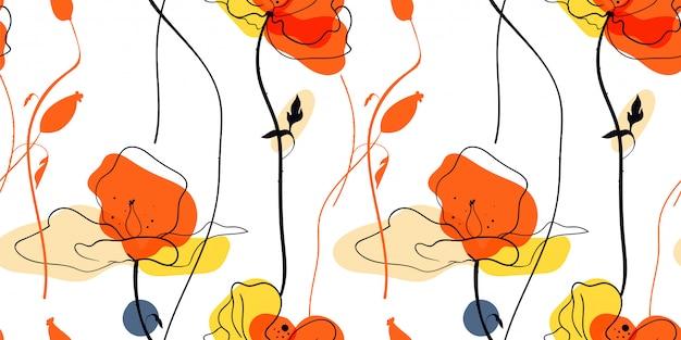 Modello senza cuciture di campo di papaveri gialli in stile scandinavo