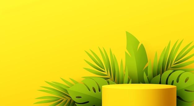 Podio prodotto giallo con foglia monstera tagliata in carta su sfondo giallo yellow
