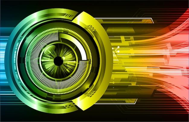 Fondo futuro di tecnologia del circuito cyber giallo dell'occhio rosso