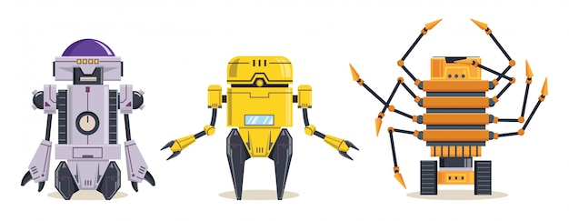 Personaggio robot giallo. tecnologia, futuro