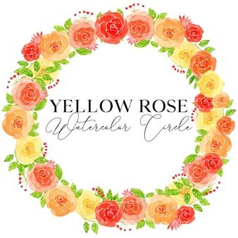 Illustrazione del cerchio dell'acquerello del fiore della rosa gialla