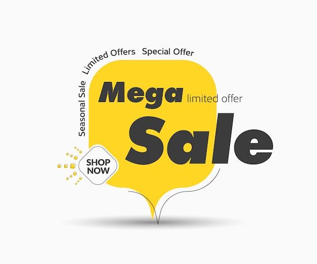 Modello di tag vettoriale quadrato arrotondato giallo per grande vendita. banner design con elementi neri per sconti e un pulsante a rombo.