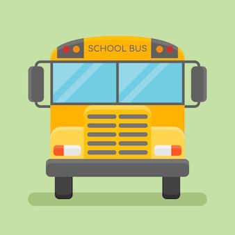 Vista frontale di scuolabus giallo. stile piatto.