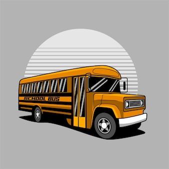 Illustrazione gialla dello scuolabus