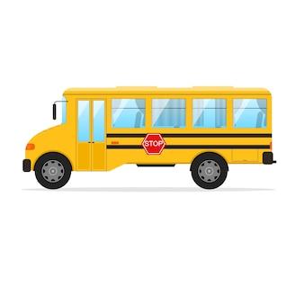 Vista laterale dello scuolabus giallo su stile design piatto