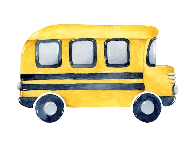 Elemento isolato illustrazione gialla dell'acquerello dello scuolabus