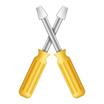 Cacciaviti gialli su fondo bianco, illustrazione di vettore eps10