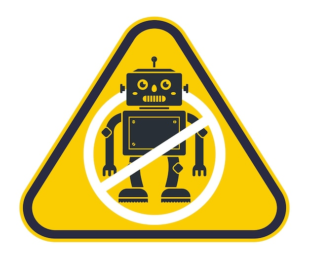 Cartello giallo che vieta i robot. divieto di intelligenza artificiale. illustrazione vettoriale piatto.