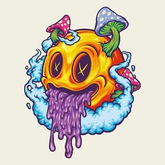 Giallo smiley icon fungo psichedelico illustrazioni vettoriali per il tuo lavoro logo, t-shirt di merce mascotte, adesivi e disegni di etichette, poster, biglietti di auguri pubblicitari società o marchi.