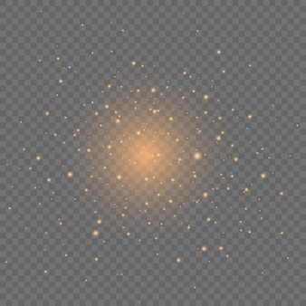 Scintille gialle scintillano effetto luce speciale su trasparente