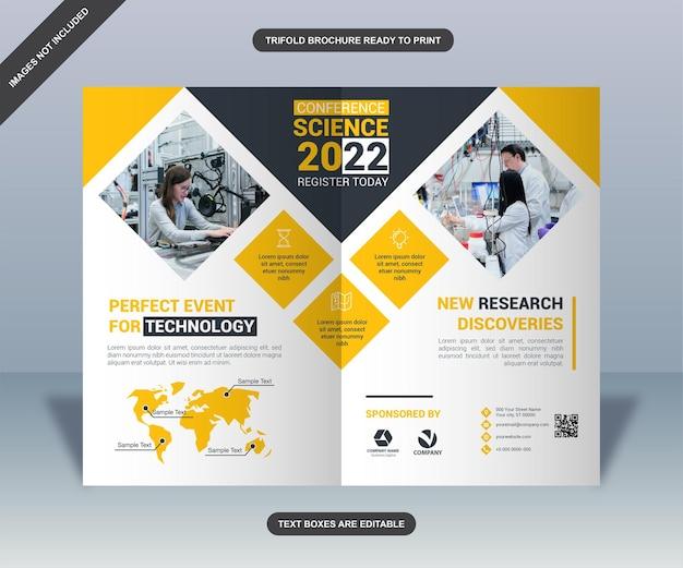 Progettazione dell'opuscolo della conferenza dei quadrati gialli Vettore Premium