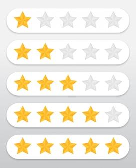 Simbolo stella gialla valutazione della qualità dei prodotti e servizi dei clienti attraverso il sito web Vettore Premium