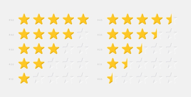 Sistema di valutazione delle stelle gialle su bianco