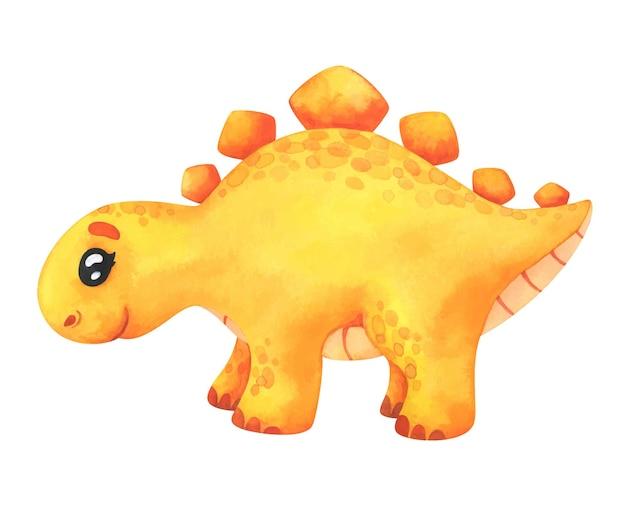 Stegosauro giallo isolato su bianco