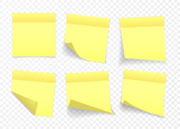 Nota adesiva gialla isolata su sfondo trasparente.