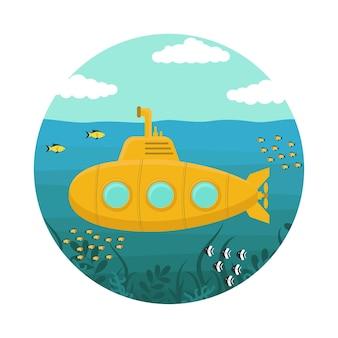 Sottomarino giallo sott'acqua con periscopio