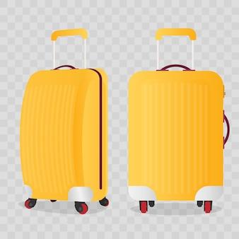 Valigia gialla per il viaggio