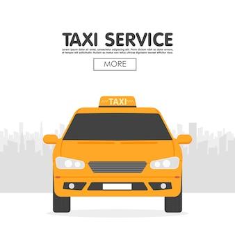 Automobile gialla del taxi davanti al modello della siluetta della città