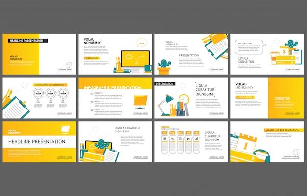 Modello giallo per la presentazione di diapositive sullo sfondo.