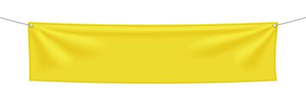 Banner in tessuto giallo con pieghe, modello di tessuto appeso bianco. modello vuoto. illustrazione vettoriale isolato su sfondo bianco