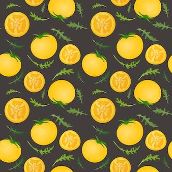 Pomodori gialli su sfondo scuro. verdura di pomodoro con foglie di rucola. seamless pattern.