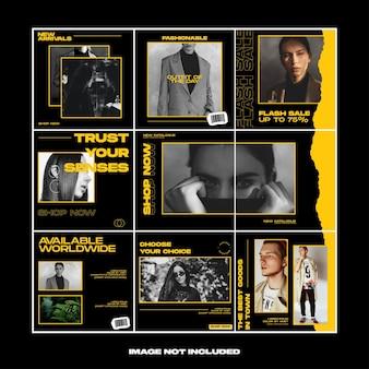 Modello di instagram di puzzle di social media di moda di carta strappata gialla