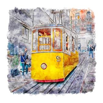 Illustrazione disegnata a mano di schizzo dell'acquerello di lisboa del treno giallo