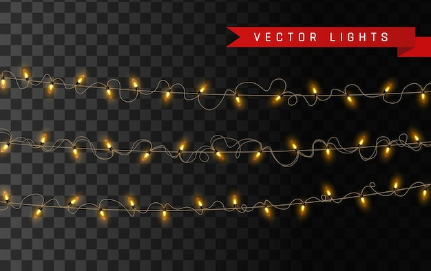 Indicatori luminosi d'annata gialli isolati. set di ghirlanda luminosa dorata.