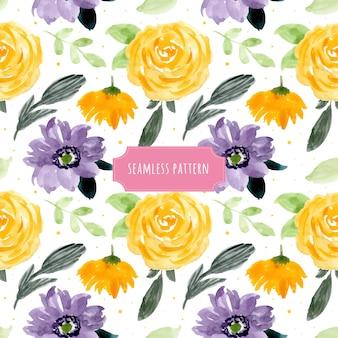 Reticolo senza giunte dell'acquerello floreale viola giallo