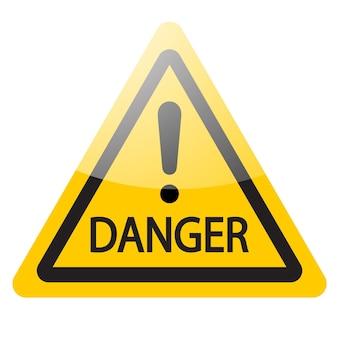 Segnale di pericolo giallo con punto esclamativo. icona del simbolo di pericolo. illustrazione vettoriale