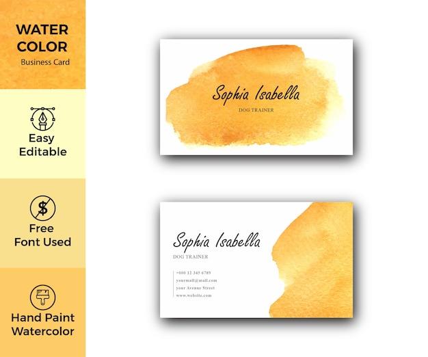 Modello di biglietto da visita aziendale dell'acquerello giallo
